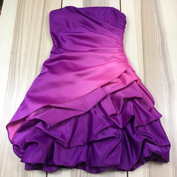 Onyx Nite Dresses | Pink Purple Ombr Mini Strapless Prom Dress 6 ...